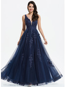 A-Line V-neck Floor-Length Tulle Prom Dresses With Lace Sequins