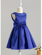 A-Line Knee-length Flower Girl Dress - Satin Sleeveless Scoop Neck With Beading/Sequins/Bow(s)