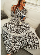 Floral Lace Print A-line Long Sleeves Maxi Vacation Skater Dresses