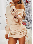 Sequins Solid Bodycon Long Sleeves Mini Casual Dresses
