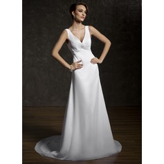 A-Line/Princess V-neck Court Train Chiffon Wedding Dress With Ruffle Lace Beading
