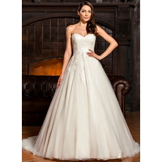 Ball-Gown Sweetheart Sweep Train Tulle Lace Wedding Dress With Bow(s) (002067216)