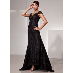Trumpet/Mermaid V-neck Asymmetrical Lace Evening Dress With Beading