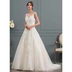 Ball-Gown Scoop Neck Court Train Tulle Wedding Dress With Beading (002145317)