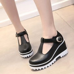 Women's Leatherette Wedge Heel Closed Toe Wedges With Buckle shoes