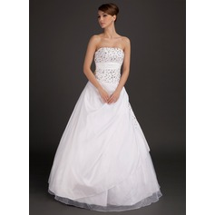 Ball-Gown Strapless Floor-Length Taffeta Wedding Dress With Lace Beading