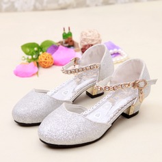 Girl's Leatherette Flat Heel Closed Toe Flats With Sparkling Glitter