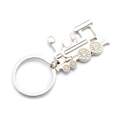 Personalized Locomotive Shaped Stainless Steel Keychains (Set of 4)