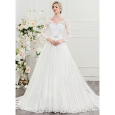Ball-Gown V-neck Court Train Tulle Lace Wedding Dress With Beading Sequins (002095822)