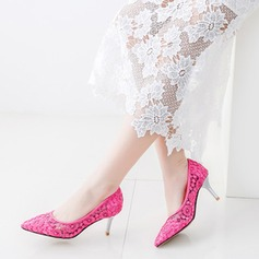 Women's Lace Stiletto Heel Pumps Closed Toe With Stitching Lace shoes