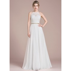 A-Line/Princess Scoop Neck Floor-Length Chiffon Lace Wedding Dress With Beading