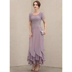 A-Line Scoop Neck Ankle-Length Chiffon Lace Evening Dress With Cascading Ruffles (017228624)