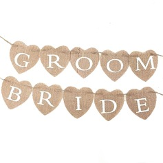 Bride and Groom Linen Photo Booth Props/Banner (10 Pieces)
