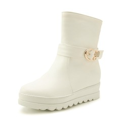 Women's Leatherette Wedge Heel Closed Toe Boots Mid-Calf Boots With Buckle shoes