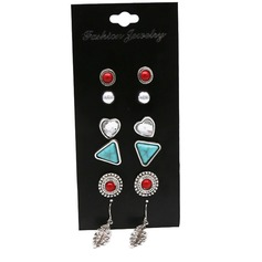Beau Alliage Dames Boucles d'oreille de mode (Ensemble de 6 paires)