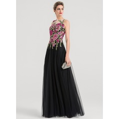 A-Line/Princess Scoop Neck Floor-Length Tulle Evening Dress (017147937)