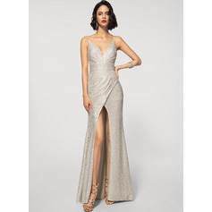 Sheath/Column V-neck Floor-Length Sequined Evening Dress With Split Front (017219924)
