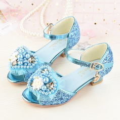 Girl's Peep Toe Sparkling Glitter Low Heel Sandals Flower Girl Shoes With Flower