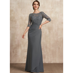 Sheath/Column Scoop Neck Floor-Length Chiffon Lace Mother of the Bride Dress With Ruffle (008225538)