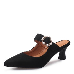 Women's Suede Stiletto Heel Pumps Closed Toe Slingbacks With Buckle shoes