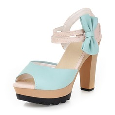 Donna Similpelle Tacco a spillo Sandalo Stiletto Piattaforma Punta aperta Con cinturino con Bowknot scarpe