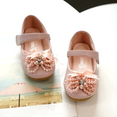 Girl's Mary Jane Microfiber Leather Flower Girl Shoes With Bowknot Velcro