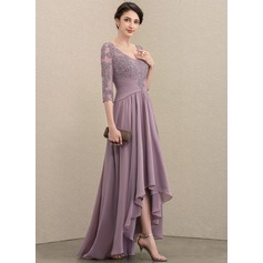 A-Line V-neck Asymmetrical Chiffon Lace Evening Dress With Sequins