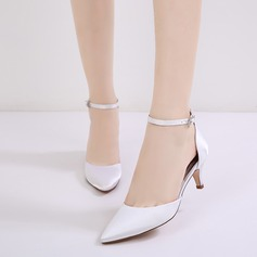 Women's Silk Like Satin Stiletto Heel Closed Toe Pumps Sandals With Buckle