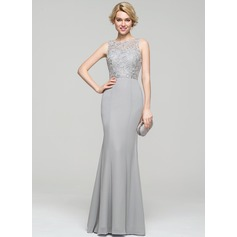Trumpet/Mermaid Scoop Neck Floor-Length Chiffon Lace Evening Dress (017086892)