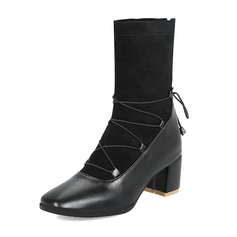 Women's Suede Leatherette Chunky Heel Pumps Boots Mid-Calf Boots With Lace-up shoes