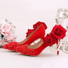 Women's Suede Stiletto Heel Closed Toe Pumps With Imitation Pearl Flower