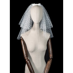 Seven-tier Cut Edge Shoulder Veils With Satin Bow
