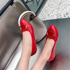 Women's Real Leather Flat Heel Flats أحذية (086211731)