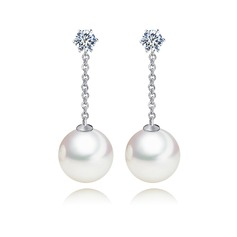 Charming Pearl/Copper/Zircon Ladies' Earrings