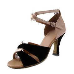 Women's Satin Suede Heels Sandals Latin With Ankle Strap Dance Shoes