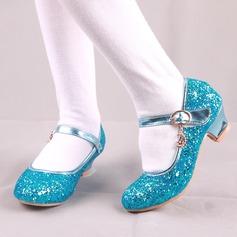 tytön Round Toe Suljettu toe tekonahka Sparkling Glitter Low Heel Matalakorkoiset Flower Girl Kengät jossa Solki