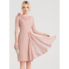 Sheath/Column Cowl Neck Knee-Length Chiffon Cocktail Dress With Flower(s) Cascading Ruffles