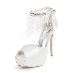 Women's Silk Like Satin Stiletto Heel Platform Pumps With Feather Rhinestone
