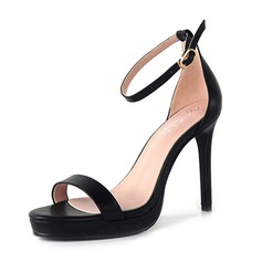 Women's PU Stiletto Heel Sandals Pumps Platform With Buckle shoes