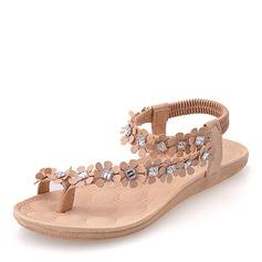 De mujer Cuero Tacón plano Sandalias Planos Encaje Solo correa con Apliques zapatos