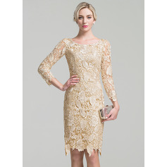 Sheath/Column Scoop Neck Knee-Length Lace Cocktail Dress (016096562)