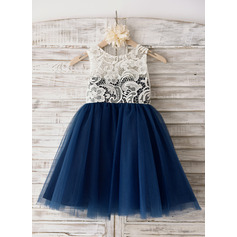 A-Line Knee-length Flower Girl Dress - Tulle Sleeveless Scoop Neck With Lace
