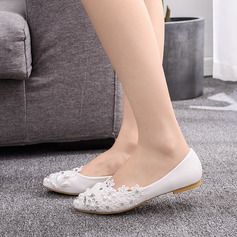 Kids' Leatherette Flat Heel Closed Toe Flats With Rhinestone Flower Applique