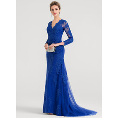 Trumpet/Mermaid V-neck Sweep Train Tulle Evening Dress (017147946)