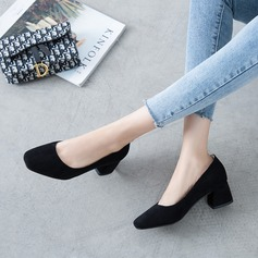 Women's Suede Chunky Heel Pumps أحذية