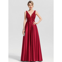 A-Line V-neck Floor-Length Satin Prom Dresses With Beading Sequins (018163270)