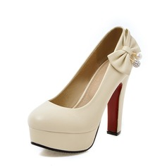 Women's PU Chunky Heel Pumps Platform Closed Toe With Bowknot shoes (085142783)