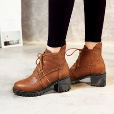 Women's PU Chunky Heel Pumps Boots Ankle Boots With Lace-up shoes