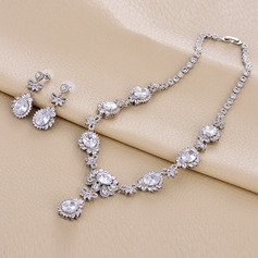 Ladies' Elegant Copper/Platinum Plated With Oval Cubic Zirconia Jewelry Sets For Bride/For Mother