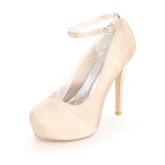 Women's Silk Like Satin Stiletto Heel Platform Pumps With Others (047111558)